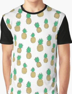 Summer Pineapples on White Graphic T-Shirt