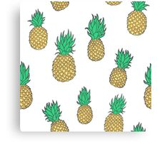 Summer Pineapples on White Canvas Print