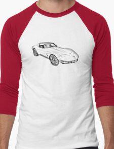 1975 Corvette Stingray Muscle Car Illustration Men's Baseball ¾ T-Shirt