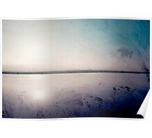 grunge sunset in a lake  Poster