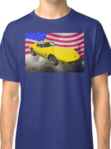 1975 Corvette Stingray Sports Car And American Flag Classic T-Shirt
