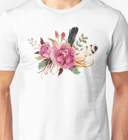 Burgundy Watercolor Flowers and Feathers Unisex T-Shirt