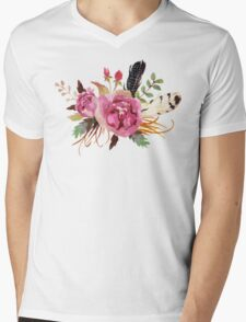 Burgundy Watercolor Flowers and Feathers Mens V-Neck T-Shirt