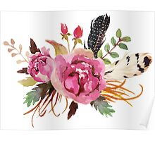 Burgundy Watercolor Flowers and Feathers Poster