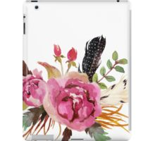 Burgundy Watercolor Flowers and Feathers iPad Case/Skin