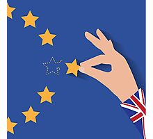 Brexit UK hand removing star from EU flag leaving just stitches behind Photographic Print