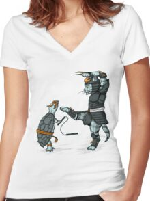 Claws VS Nunchucks Women's Fitted V-Neck T-Shirt
