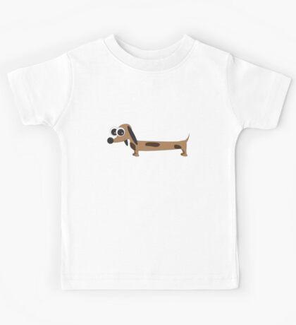 Cute Cartoon Dachshund Sausage Dog Kids Tee