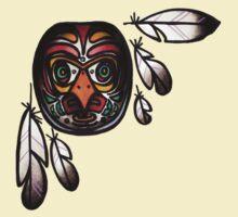 northwest native, haida inspired owl mask with feathers, tattoo art shirt by resonanteye