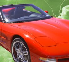 Red C5 Corvette convertible Muscle Car Sticker