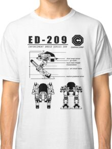 ED-209 Blueprint Omnicorp Robo 80s Cop Movie Weller New Robot Classic T-Shirt