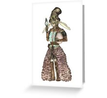 Lady Easter Rabbit Cat Greeting Card