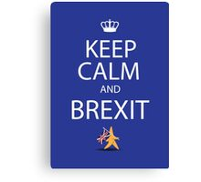 Keep calm and Brexit EU star walking away carrying UK flag Canvas Print