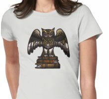 wise owl with books, library and literacy, athena, wisdom Womens Fitted T-Shirt