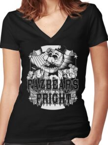 Fazbear's Fright Five Nights FNAF Freddy's Horror Video Game Women's Fitted V-Neck T-Shirt