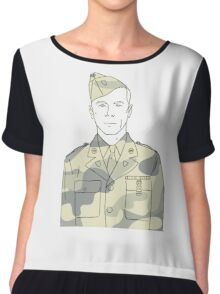 Soldier outline Chiffon Top
