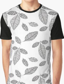 Monochrome Leaf Pattern Graphic T-Shirt