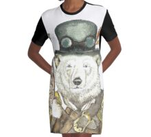 Polar Bear Warden Graphic T-Shirt Dress