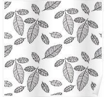 Monochrome Leaf Pattern Poster
