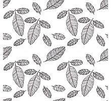 Monochrome Leaf Pattern Photographic Print
