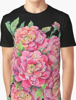 bouquet of peony flowers with decoration of leaves and branches 2 Graphic T-Shirt