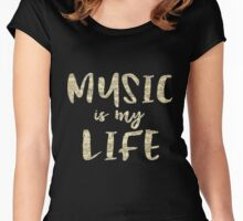 Music is my Life Quote Women's Fitted Scoop T-Shirt