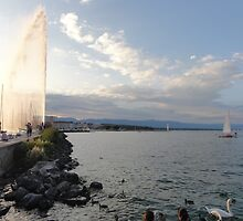 Jet d'Eau in Lake Geneva, Switzerland by SteveTheCookie
