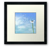 Dandelion Blue Sky Nature Illustration Framed Print