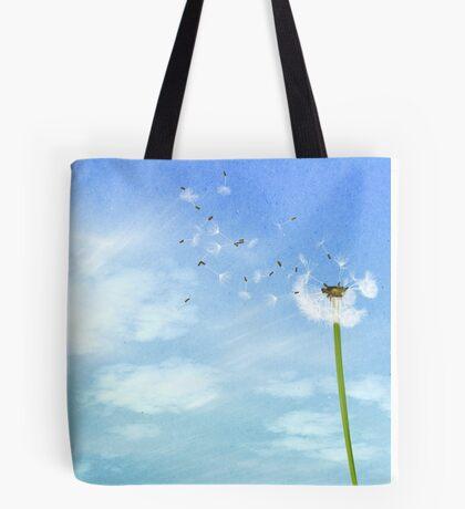 Dandelion Blue Sky Nature Illustration Tote Bag