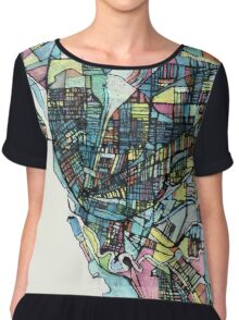 Abstract Map of Buffalo NY Chiffon Top