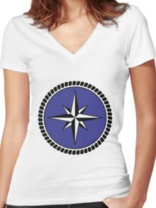 Nautical round north south east west dial Women's Fitted V-Neck T-Shirt