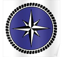 Nautical round north south east west dial Poster