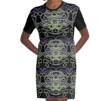Abstract in black, green, lavender Graphic T-Shirt Dress