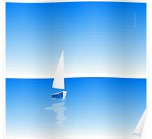 Boat on Calm Blue Sea - Blue Boat Poster