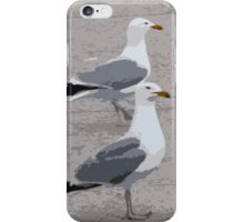 Gulls on a harbour wall iPhone Case/Skin