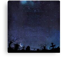 Night Graveyard Lyrics Canvas Print