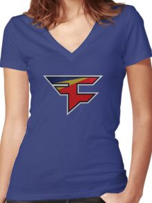 Faze 2.0 | Performance SS | Blue Background | High Quality! Women's Fitted V-Neck T-Shirt