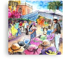 Hat Shopping in Turre Market Canvas Print