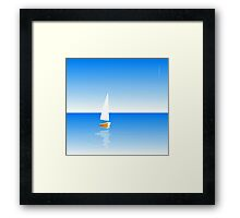 Boat on Calm Blue Sea - Yellow Boat Framed Print