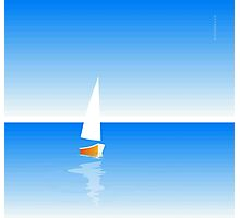 Boat on Calm Blue Sea - Yellow Boat Photographic Print