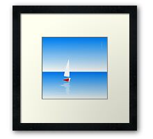 Boat on Calm Blue Sea - Red Boat Framed Print