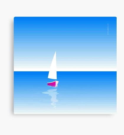 Boat on Calm Blue Sea - Pink Boat Canvas Print