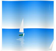Boat on Calm Blue Sea - Green Boat Poster