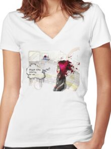 Paranoid Self Destroyer: Train Women's Fitted V-Neck T-Shirt