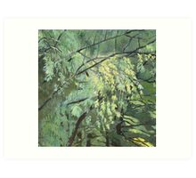 Green vibration of the leaves Art Print