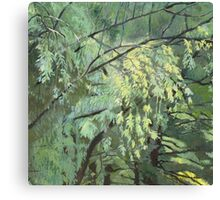 Green vibration of the leaves Canvas Print