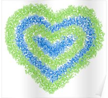 blue and green butterfly heart  Poster