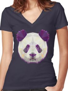 Happy Panda Women's Fitted V-Neck T-Shirt