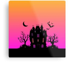 Haunted Silhouette Rainbow Mansion Metal Print
