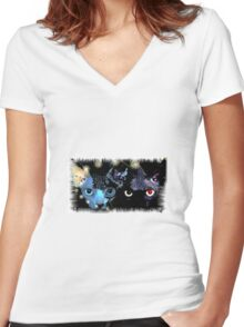 Cats Women's Fitted V-Neck T-Shirt